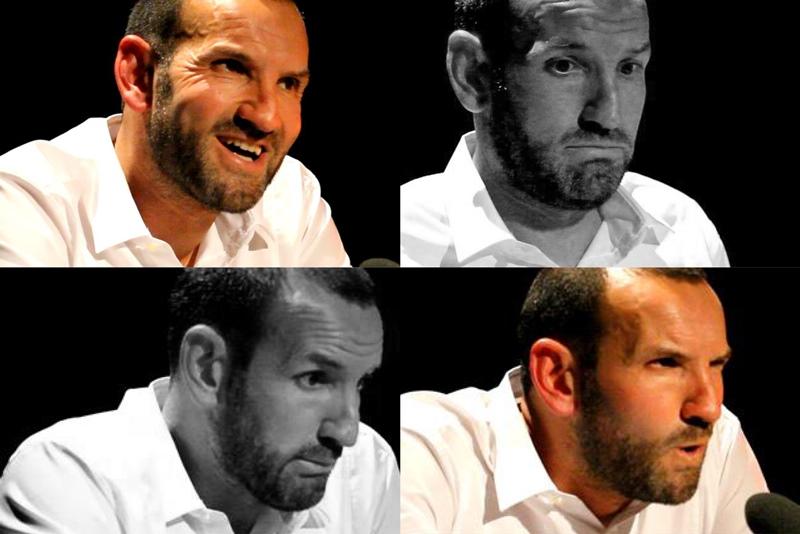 Jörg Becker zeigt verschiedene Gesichtsausdrücke.