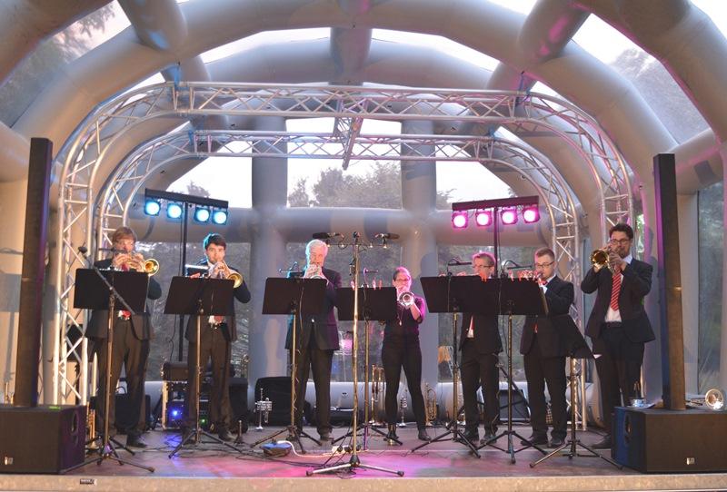 Das Trompeten-Ensemble von Dr. Hoch's Konservatorium Frankfurt begeisterte im Freizeitzentrum Münster. Foto: GM/Lena Brunn