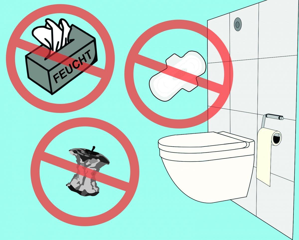 Feuchttücher und andere Fremdkörper gehören nicht in die Toilette! Grafik: Lena Brunn