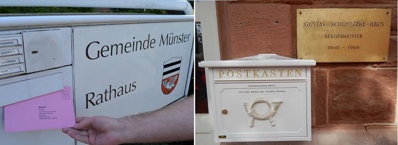 Die Wahlbriefe können direkt bei der Gemeinde eingeworfen werden - in Münster und in Altheim.