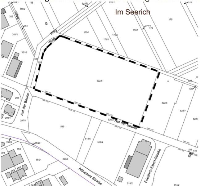 """Abbildung: Räumlicher Geltungsbereich des Bebauungsplans M 37 """"An der Altheimer Straße"""" 3. Änderung"""