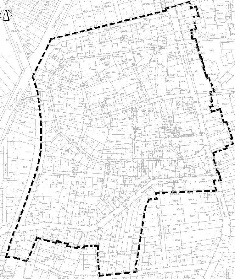 """Räumlicher Geltungsbereich des Bebauungsplanes M 40 """"Alter Ortskern Münster""""."""