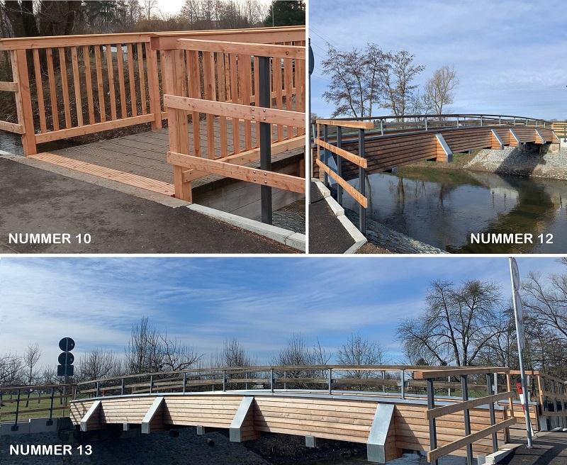 Drei Holzbrücken in Münster sind fertig saniert worden. Fotos: Gemeinde Münster