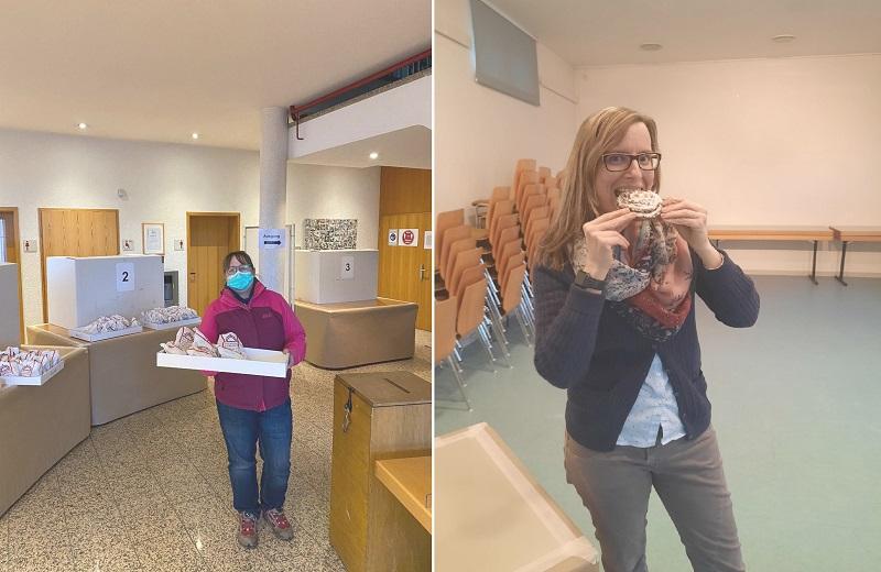 Karin Kreher bei der Anlieferung der Leckereien (links) und Wahlhelferin Sandra Schröbel beim Genießen. Fotos: Samira Rodenhäuser