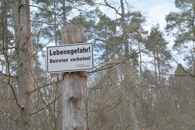 Das Betreten des Muna-Geländes ist aus Sicherheitsgründen verboten. Foto: Anna Wojtusch
