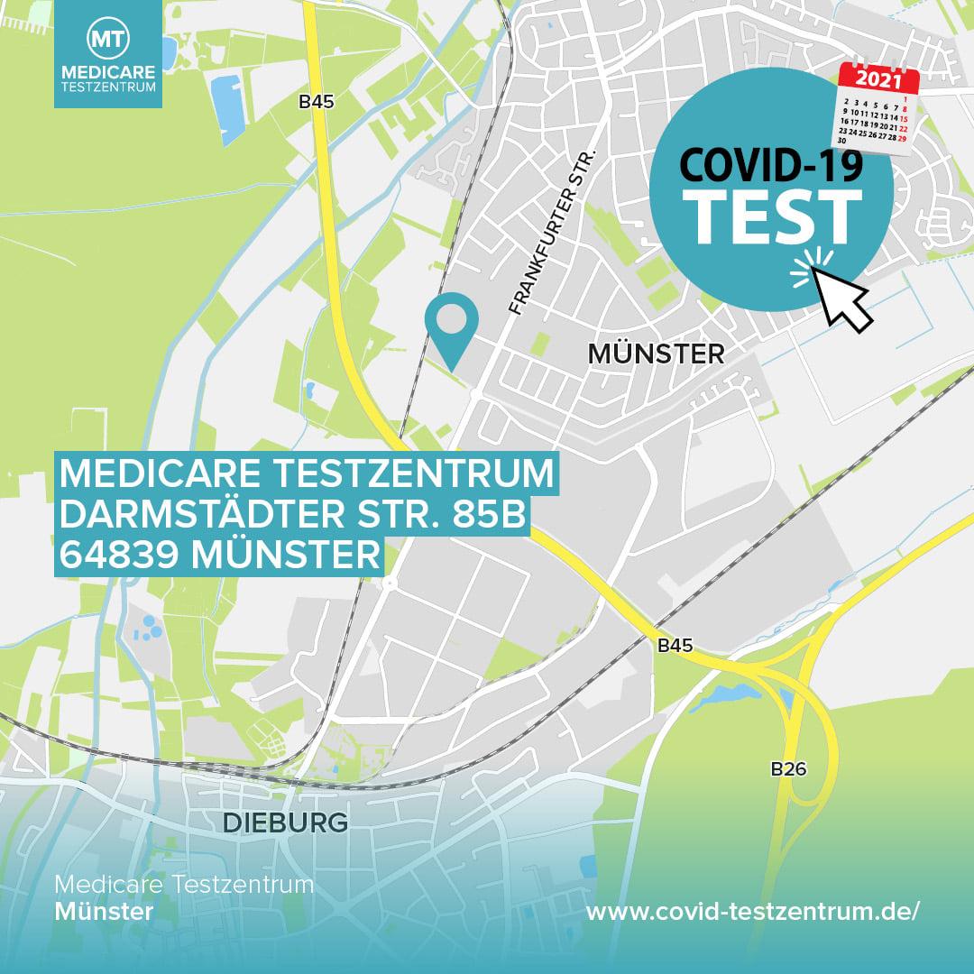 Das Medicare-Testcenter befindet sich auf dem Edeka-Parkplatz in Münster. Grafik: Medicare