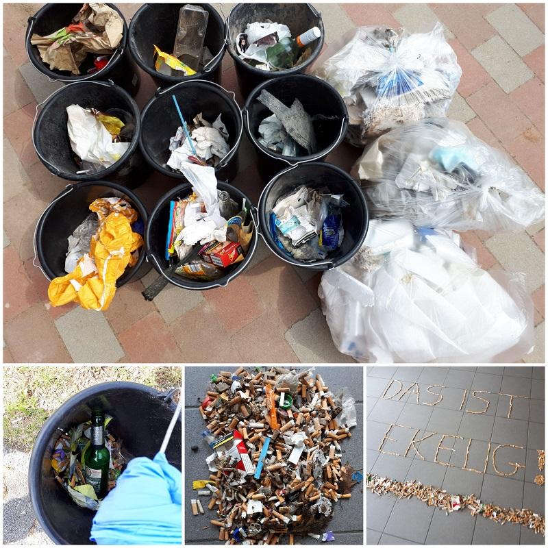 """Riesige Mengen Müll, vor allem Zigarettenstummel, haben die Kinder der """"Kinderinsel"""" an einem Aktionstag eingesammelt. Fotos: Kita"""