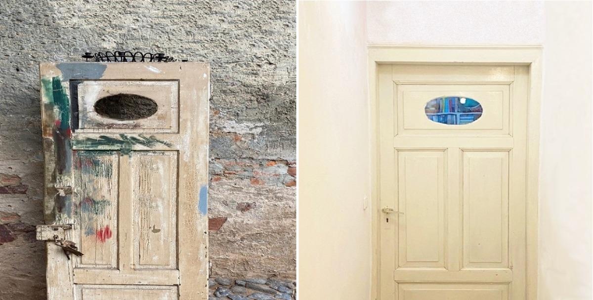 lte Außentür wird aufgearbeitet und ist ein Blickfang als Zimmertür. Foto: Familie Grabowski, Otzberg