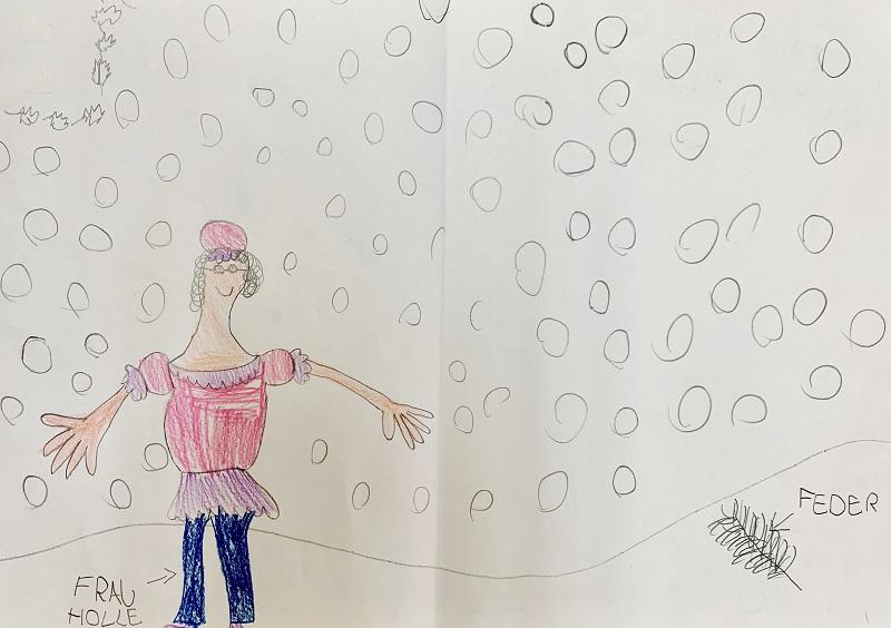 Eines der eingereichten Bilder des Malwettbewerbs zum Thema Frau Holle. Das beeindruckende Gemälde stammt von Ida, 7 Jahre.