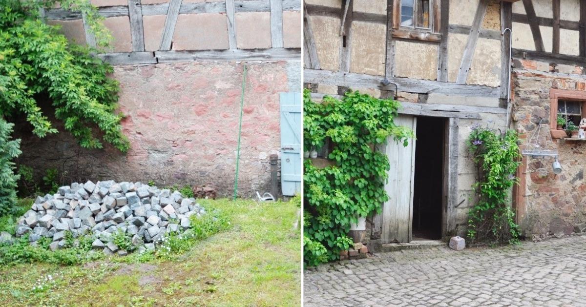 Alte Pflastersteine werden aufbereitet und wiederverwendet (Fotohinweis: Familie Grabowski, Otzberg)